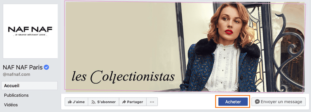 Boutique Facebook bouton d'appel