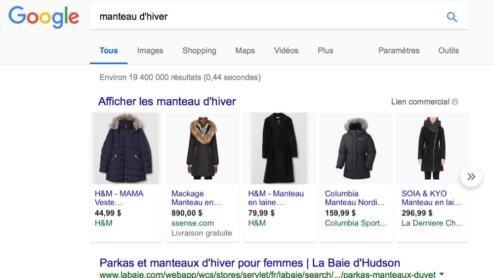 Exemple pour optimiser sa campagne google shopping