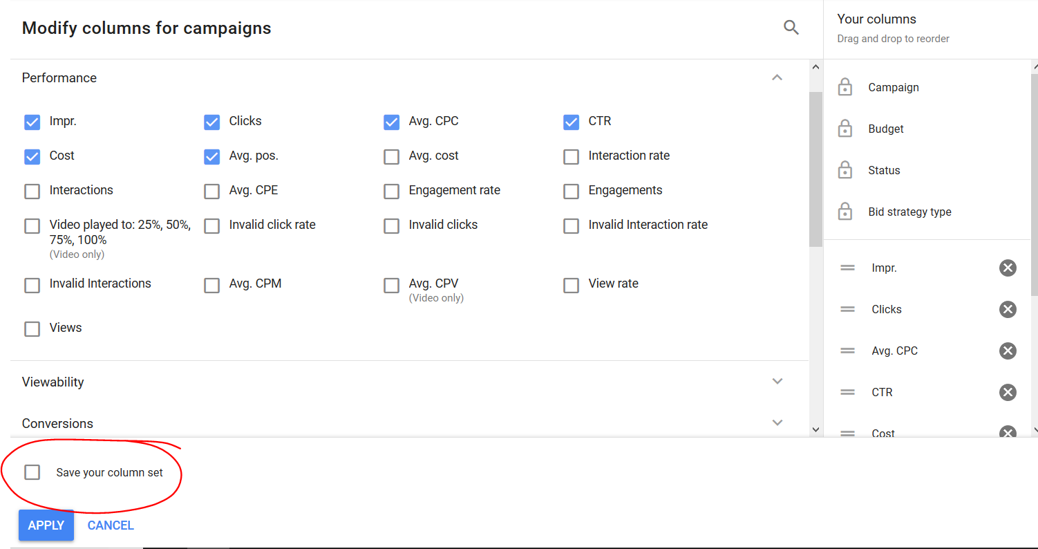 Comment enregistrer un ensemble de colonnes dans l'interface Google Adwords